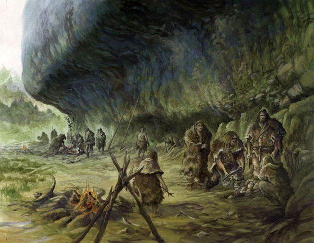 Rekonstruktion der Nutzung des natürlichen Felsüberhangs La Ferrassie durch eine Neandertaler-Gemeinschaft (Illu.). Copyright: Emmanuel Roudier