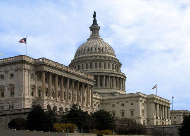 Senats-Seitenansicht des United States Capitol in Washington, D.C. Copyright: Public Domain