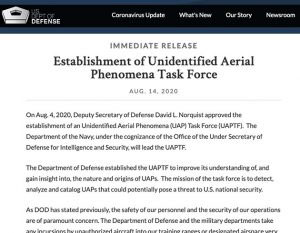 Aus der offiziellen Pressemitteilung des Pentagon zur Gründung der Unidentified Aerial Phenomena Task Force (UAPTF). Copyright: US Department of Defense