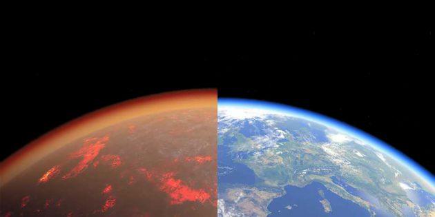 Eine künstlerische Darstellung der Erde vor 4,5 Milliarden Jahren und heute. Copyright: Tobias Stierli / NFS PlanetS