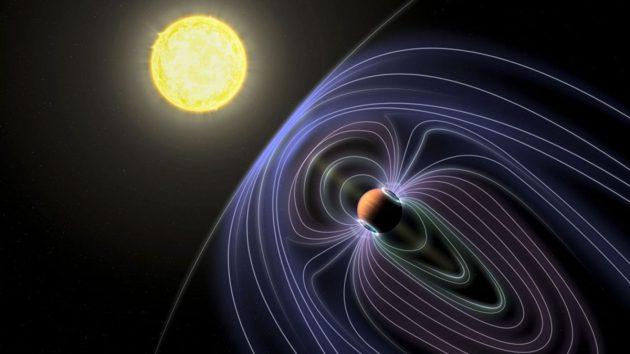 Künstlerische Darstellung des planetaren Magnetfeldes eines großen Gasplaneten im System um Tau Bootes (Illu.). Copyright: Jack Madden/Cornell University