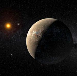 Künstlerische Darstellung des erdartigen Planeten um Proxima Centauri (Illu.). Copyright: ESO/M. Kornmesser