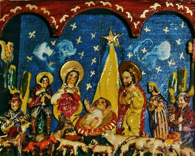 """Peruanische Weihnachtskrippe (""""Retablo"""") von Angel Castro aus den 1970er Jahren. Museum Europäischer Kulturen Berlin. Copyright: Ralf Bülow"""