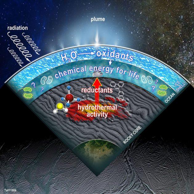 Schaubild anhand eines Querschnitts durch den Saturnmond Enceladus mit einer Zusammenfassung jener aktuell modellierten Prozesse im Innern des verborgenen Ozeans: Oxidantien werden im Wasser produziert, wenn Wassermoleküle durch kosmische Strahlung aufgebrochen werden und sich mit von hydrothermaler Aktivität am Ozeanboden erzeugten Reduktionsmitteln sowie der Wechselwirkung zwischen Wasser und Fels zu Nährstoffen potenziellen Lebens im Enceladus-Ozean verbinden (Illu.). Copyright: SwRI