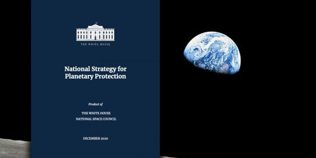"Das Titelblatt der ""National Strategie for Planetary Protection"". Copyright: US Gov."