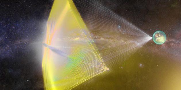 Von einem Lichtsegel angetrieben, sollen Miniatursonden schon innerhalb von 20 Jahren die nächsten Nachbarsterne unserer Sonne, Alpha Centauri A, B und Proxima Centauri erreichen (Illu.). Copyright: breakthroughinitiatives.org