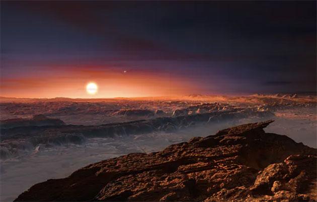 Künstlerische Darstellung der Oberfläche eines Planeten um Proxima Centauri. Copyright: ESO / M. Kornmesser / Wikipedia, CC BY-SA