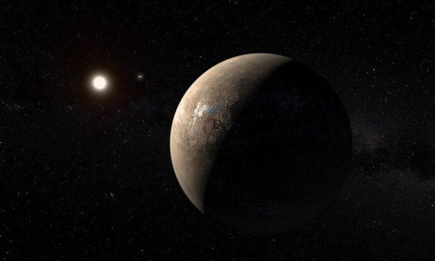 Künstlerische Darstellung eines erdartigen Planeten um Proxima Centauri (Illu.). Copyright: ESO/M. Kornmesser
