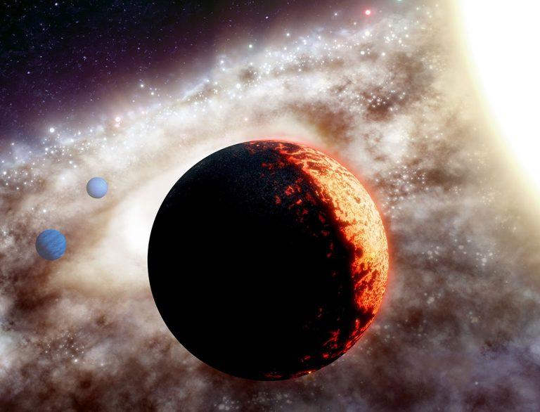 Künstlerische Darstellung des Planeten TOI-561b, in einem der bislang ältesten und metallärmsten Planetensysteme der Milchstraße (Illu.). Copyright: W. M. Keck Observatory/Adam Makarenko