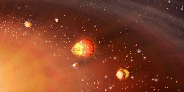 Künstlerische Darstellung der des frühen Sonnensystems, in dem sich die inneren Gesteinsplaneten früher formierten als die äußeren Gas- und Eisriesen (Illu.) Copyright: Mark A. Garlick markgarlick.com