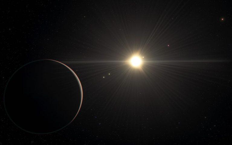 """Künstlerische Darstellung des Planetensystems """"TOI-178"""" (Illu.). Copyright: ESO/L. Calçada/spaceengine.org"""