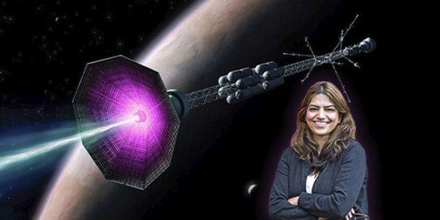 Dr. Fatima Ebrahimi vor dem grafischen Konzept eines Fusionsraumschiffes. Copyright/Quelle: Elle Starkman, PPPL Office of Communications / ITER