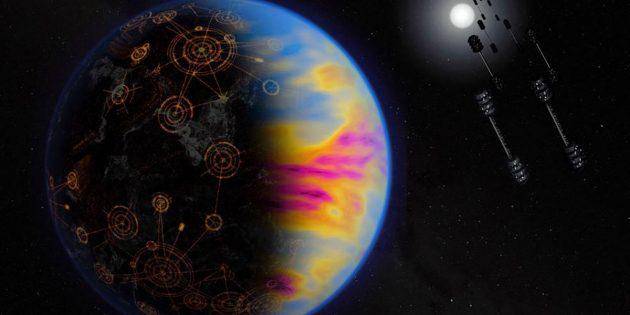 Künstlerische Darstellung eines von einer industriellen Zivilisation bevölkerten Exoplaneten. Die Farben sind übertrieben, um die industrielle Verschmutzung anzuzeigen, die sonst nicht sichtbar ist (Illu.). Copyright: NASA / Jay Freidlander