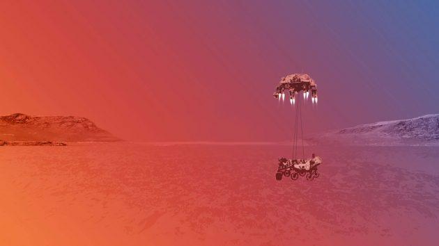 """Künstlerische Darstellung der Landung des Mars-Rovers """"Perseverance"""" im Marskrater Jezero (Illu.). Copyright: NASA/JPL-Caltech"""