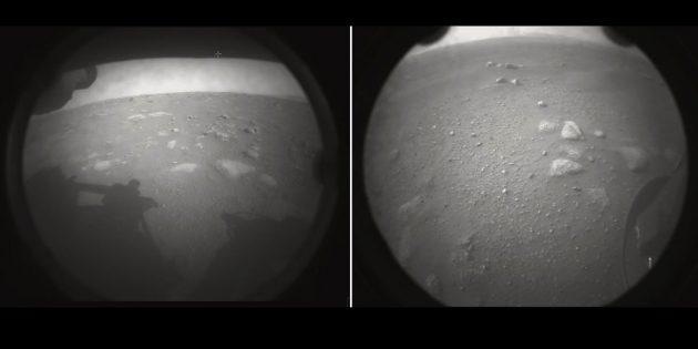 Die beiden ersten Aufnahmen vom Landeort des neusten Mars-Rovers. Copyright: NASA/JPL-Caltech