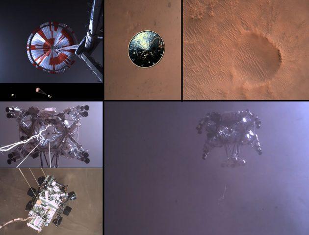 """Verschiedene Ansichten zeigen Abstieg und Landung des neusten NASA-Mars-Rovers """"Perseverance"""" im Mars-Krater Jezero (Das vollständige Video finden Sie im folgenden Text). Copyright: NASA/JPL-Caltech"""