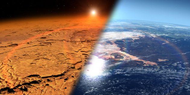 Künstlerische Darstellung der heutigen und einstigen Marsatmosphären (Illu.). Copyright: NASA's Goddard Space Flight Center