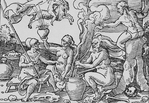 Historischer Holzschnitt: Hexen bereiten eine magische Salbe zu Copyright: Gemeinfrei