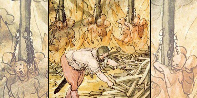 Hexenverbrennung 1587, dargestellt in der Wickiana. Copyright: Gemeinfrei