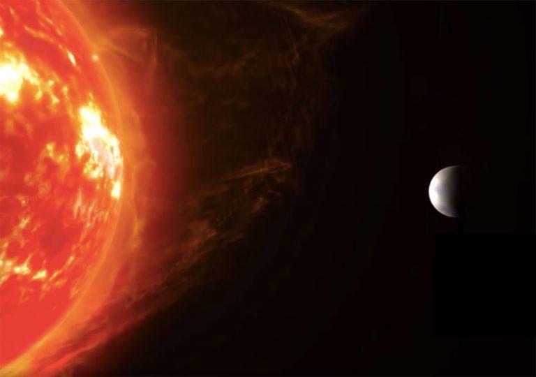 Künstlerische Darstellung einer Super-Erde um einen roten Zwergstern (Illu.). Copyright/Quelle: RenderArea / mpia.de