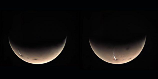 """Die """"Mars-Wolke"""", aufgenommen am 17. und 19. July 2020 mit der """"Visual Monitoring Camera"""" (VMC) an Bord der ESA-Sonde """"Mars Express"""". Copyright: ESA/GCP/UPV/EHU Bilbao"""