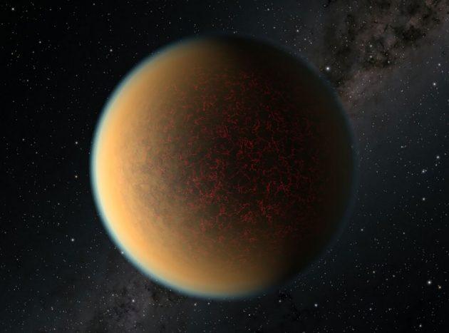 """Künstlerische Darstellung des erdartigen Planeten """"GJ 1132 b"""" mit einer dunstigen Gashülle (Illu.). Copyright: NASA, ESA, and P. Jeffries (STScI)"""