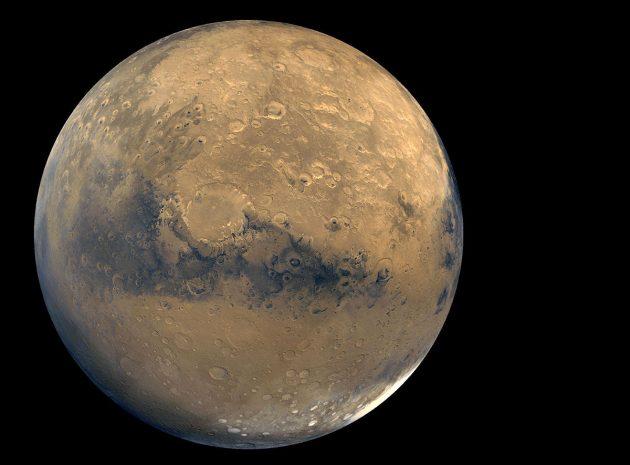 """Mosaik-Aufnahme des Mars durch die NASA-Sonde """"Viking Orbiter"""". Copyright: NASA/JPL-Caltech/USGS"""