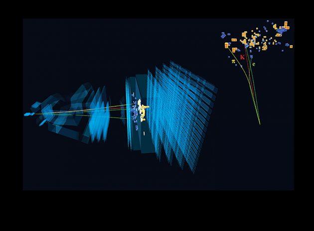 Sehr seltener Zerfall eines Beauty-Quarks unter Beteiligung eines Elektrons und Positrons, das mit dem LHCb-Detektor am LHC-Teilchenbeschleuniger am CERN beobachtet wurde. Copyright: CERN