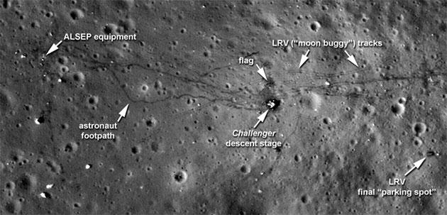 LRO-Aufnahme der Apollo-17-Landestelle. Neben der Hauptlandestufe können auch die Flagge, die Spuren der Astronauten und des Mond-Autos sowie wissenschaftliche Instrumente identifiziert werden. Doch die Auflösung setzt der Erkennbarkeit von Details und kleineren Objekte deutliche Grenzen. Ohne das Wissen, über Position und Natur einzelner Apollo-Instrumente ließen sich diese auf der Aufnahme wohl kaum als solche identifizieren. Copyright: NASA