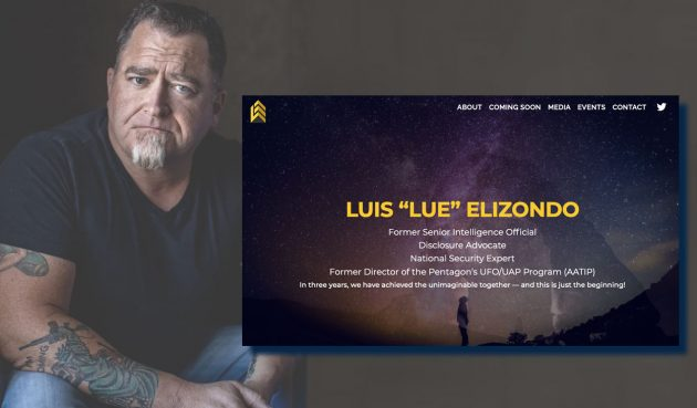 Luis Elizondo im Porträt gemeinsam mit einem Screenshot der Startseite seiner neuen privaten Webseite. Copyright: luiselizondo-official.com/