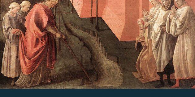 Auf diesem Gemälde vom Filippo Lippi lenkt der Heilige St. Fredianus den Fluss Serchio in ein neues Flussbett, so dass die Stadt Lucca nicht länger von Überschwemmungen bedroht ist. Copyright: Gemeinfrei (via WikimediaCommons)