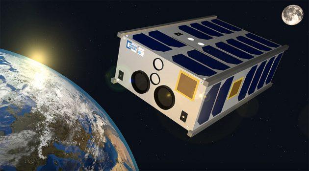 """Grafische Darstellung des KI-gestützten Kleinsatelliten """"SONATE-2"""" im Orbit. Copyright/Quelle: Hakan Kayal / Universität Würzburg"""