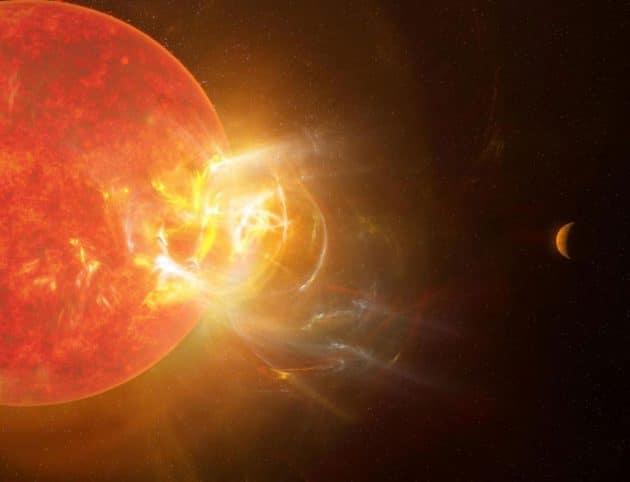 Künstlerische Darstellung eines gewaltigen, auf einen der dortigen Planeten ausgerichteten stellaren Strahlungsausbruchs des roten Zwergsterns Proxima Centauri. (Illu). Copyright: NRAO/S. Dagnello