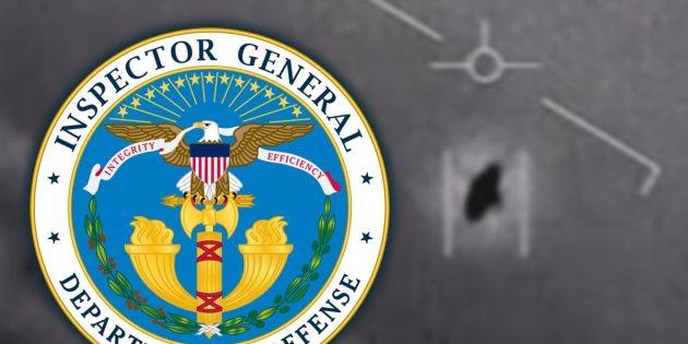 """Das Signet des """"Department of Defense Office of Inspector General"""" vor dem Hintergrund eines Standbild aus einem offiziellen """"UFO-Video"""" der US-Navy. Copyright: US Gov. (Collage: grenzwissenschaft-aktuell.de)"""