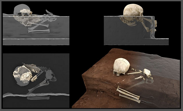 Virtuelle Rekonstruktion der Homininreste von Panga ya Saidi am Fundort (links) und Rekonstruktion der ursprünglichen Position des Kindes zum Zeitpunkt des Fundes (rechts) Copyright: Jorge González/Elena Santos