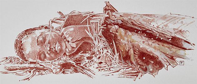 Künstlerische Rekonstruktion des beigesetzten Mtoto (Illu.). Copyright: F. Fuego