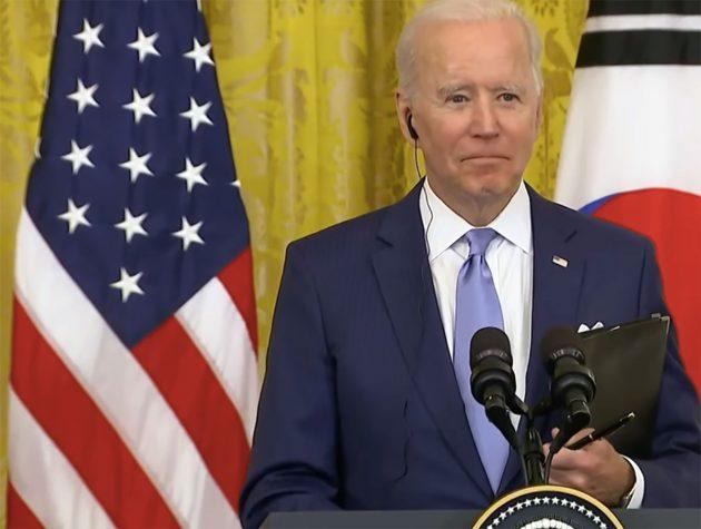 US-Präsident Joe Biden angesichts der UFO-Frage auf der Pressekonferenz vom 21. Mai 2021. Quelle: NBCNews