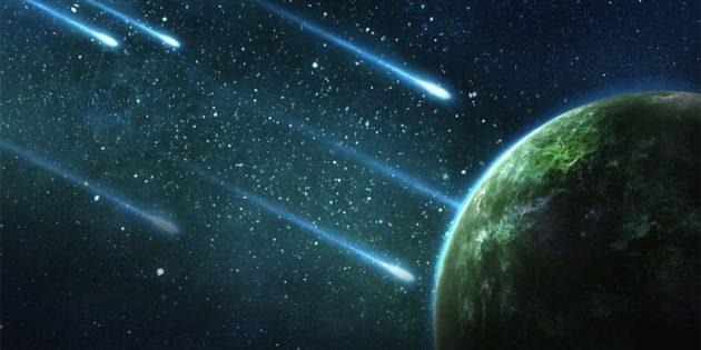 Künstlerische Darstellung kosmischer Einschläge auf einen lebensfreundlichen Planeten (Illu.). Copyright: Yuri B (via Pixabay.com) / Pixabay License