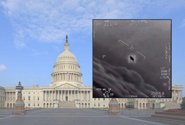 Standbild aus einem UFO-Video der US-Navy vor dem Hintergrund des US-Capitols. Copyright: US Gov, DoD, Naval Air Systems (edit: grewi.de)