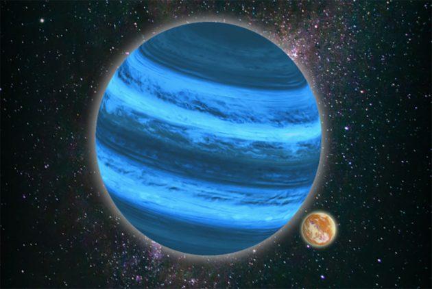 Grafische Darstellung eines frei durchs Universum schwebenden Planeten mit Mond, der Wasser speichern kann (Illu.). Copyright: Tommaso Grassi / LMU