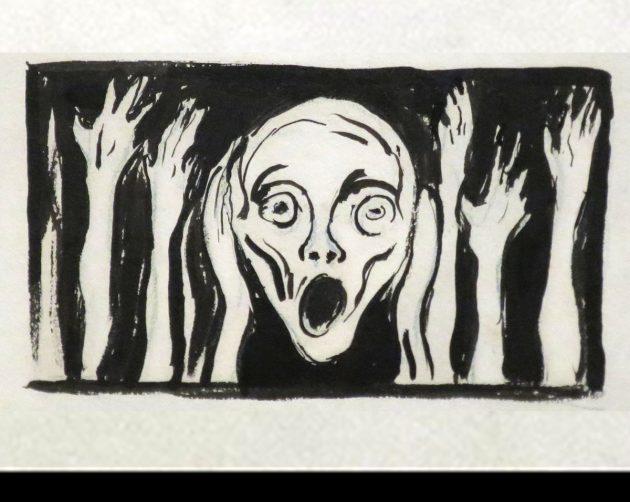 Symbolbild: Der Schrei, Federzeichnung von Edvard Munch (Kunstmuseum Bergen). Copyright: Gemeinfrei