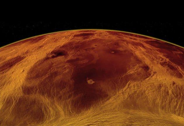 Radaransicht eines der größten, jetzt neu identifizierten tektonischen Blöcke in den Venustiefländern. Copyright: Byrne et al., NASA/JPL