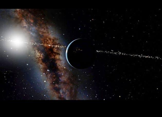 Künstlerische Darstellung jener Sternensysteme (gepunktete Linie), die unsere Erde als einen interessanten, die Sonne umkreisenden Transit-Planeten bereits entdeckt haben könnten (Illu.). Copyright: OpenSpace/American Museum of Natural History