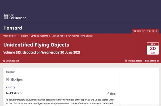 Screenshot des Hansard-Transkripts der UFO-Debatte im britischen Oberhaus. Copyright/Quelle: hansard.parliament.uk