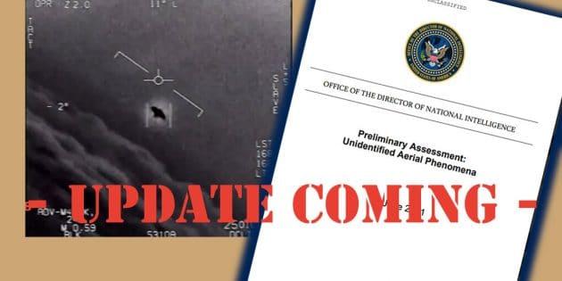 Symbolbild: Standbild aus einem offiziellen UFO-Video der US Navy (r.) und dem Deckblatt des jüngsten UFO-Berichts des Chefs der US-Geheimdienste (l.). Copyright/Quelle: grewi.de / US DoD
