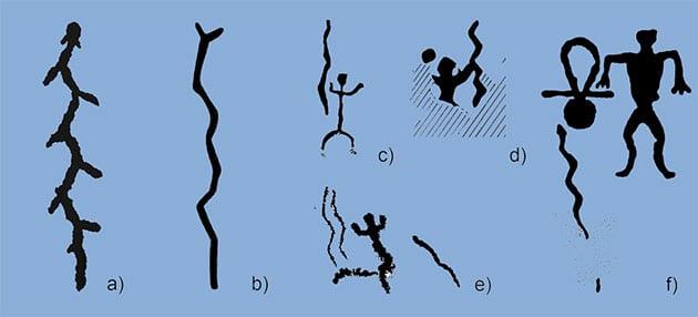 Beispiele von Schlangendarstellungen in der nordeuropäischen neolithischen Felsbild-Kunst am a) Onega-See; b) auf der Kola-Halbinsel; c–e) in Finland; f) enlang der Küsten des Weißen Meeres. Copyright/Quelle: A. Lahelma