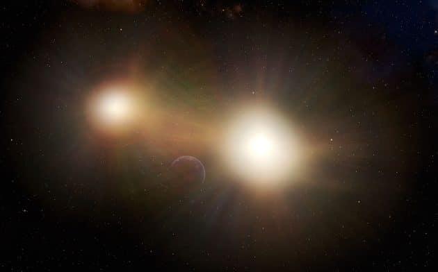 Künstlerische Darstellung eines erdartigen Planeten in einem Doppelsternsystem (Illu.). Copyright: International Gemini Observatory/NOIRLab/NSF/AURA/J. da Silva (Spaceengine)