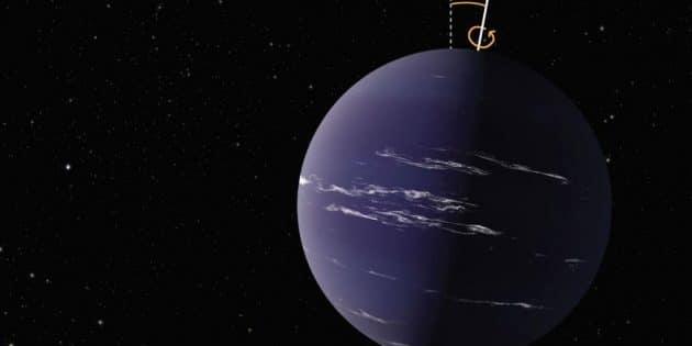 Künstlerische Darstellung eines achsengeneigten Exoplaneten (Illu.). Copyright: NASA