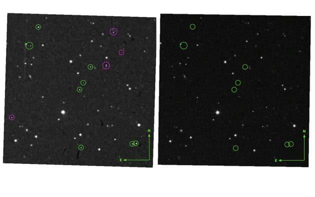 """Die digitalisierten Fotoplatten der """"Palomar Sky Survey"""". Am 12. April 1950 zeigte die Aufnahme """"POSS-I E"""" (l.) neun """"Sterne"""" (grüne Kreise) die auf späteren Aufnahmen seither nicht mehr zu sehen waren (r.). Die pinkfarbenen Kreise markieren identifizierte Artefakte des Scan-Vorgangs. Copyright/Quelle: Palomar Sky Survey / Villarroel et al. 2021"""