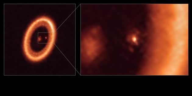 """ALMA-Weitwinkel- (l.) und -Nahaufnahmen (r.) der mondbildenden Scheibe um den Exoplaneten """"PDS 70c"""". Copyright: ALMA (ESO/NAOJ/NRAO)/Benisty et al."""